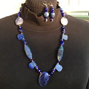 Jewelry - Handcrafted Lapis Lazuli and Jade Necklace